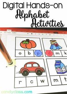 Find 22 different digital alphabet activities for use on a tablet, iPad, Chromebook, interactive whiteboard, or any device with the appropriate software. These hands-on centers can be use in a kindergarten classroom or for RTI with first graders. Word Work Activities, Alphabet Activities, Hands On Activities, Reading Activities, Reading Centers, Guided Reading, Teaching The Alphabet, Teaching Phonics, Teaching Tips