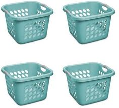 Sterilite Bushel Ultra Square Laundry Basket Teal Splash Case of 4 Size: