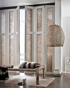 Who needs glass when textured canvas looks so good. LOVE these windows.