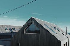 house, roof, wood, panels, windows, sky, clouds, lines, patterns, minimalist…