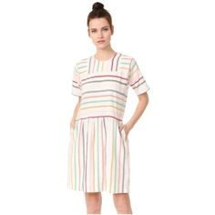 ace&jig Paz Dress (6.292.430 VND) ❤ liked on Polyvore featuring dresses, merry, embroidered shift dress, cotton shift dress, pleated dress, short-sleeve shift dresses and short-sleeve dresses