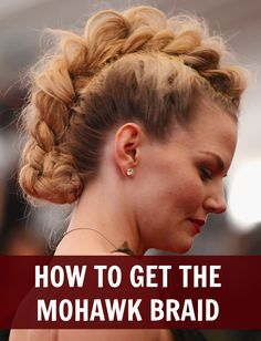 """I want to rock a mohawk just once in my life! Jennifer Morrison -- how to do the braid """"Mohawk"""" Braided Mohawk Hairstyles, Mohawk Braid, Pelo Mohawk, Faux Mohawk, Summer Hairstyles, Cool Hairstyles, Blunt Hairstyles, Casual Hairstyles, Medium Hairstyles"""