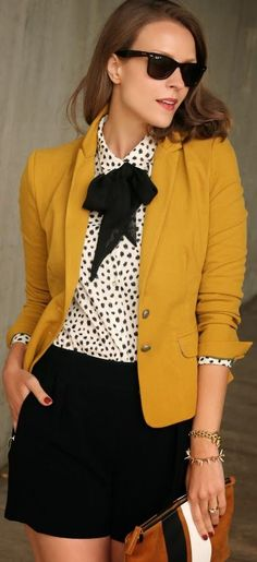 { Closet // mustard blazer, black and white polka dot blouse with an adorable black bow, and black shorts (casual) } Mode Outfits, Office Outfits, Fashion Outfits, Fashion Mode, Work Fashion, Womens Fashion, Blazer Outfits, Blouse Outfit, Tie Blouse