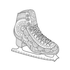 Printable Coloring Page Zentangle Figure Skating Coloring Book by DotDotColor on Etsy https://www.etsy.com/listing/510096339/printable-coloring-page-zentangle-figure