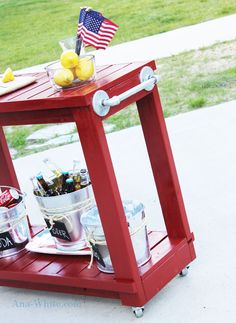 Simple but beautiful rolling bar cart and/or potting station.  Small enough in scale to work for a small yard but large enough to be functional.