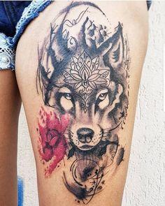 Find the tattoo artist and the perfect inspiration for your tattoo. - Find the tattoo artist and the perfect inspiration for your tattoo. – Artist: Tyago Irezumi – C - Mommy Tattoos, Love Tattoos, Beautiful Tattoos, Girl Tattoos, Tatoos, Husky Tattoo, Tattoo Femeninos, Mark Tattoo, Wolf Tattoo Design