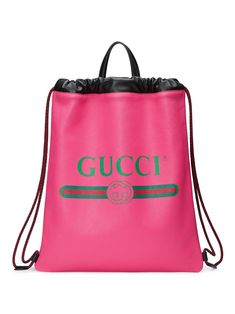 Gucci Gucci Print leather drawstring backpack