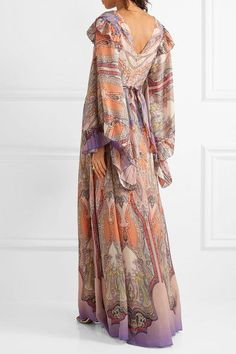 Etro - Ruffled Printed Silk-georgette Gown - Blush - IT40