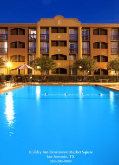 The beautiful pool setting of the Holiday Inn Downtown Market Square in lovely San Antonio, TX.