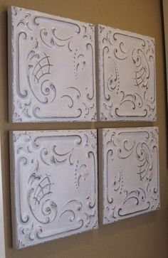 ALL 4 Antique Ceiling Tin Tiles Framed Circa by DriveInService, $100.00    BEDROOM :)