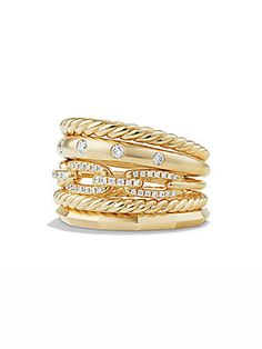 David Yurman Stax Wide Ring with Diamonds in 18K Yellow Gold - Gold