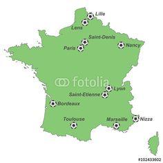 Vektor: EM 2016 - Karte von Frankreich mit EM-Stadien (grün)