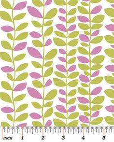 Half Yard Dori  Vine in Kiwi and Pink  by WarmKittyQuilts on Etsy
