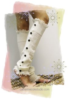 Ivory double lace button down leg warmers | LW15