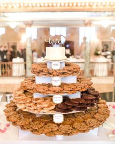 20 Super Sweet Wedding Dessert Display and Table Ideas cookie tower wedding dess. Black Wedding Cakes, Wedding Cake Rustic, Beautiful Wedding Cakes, Perfect Wedding, Wedding Cookies, Wedding Cupcakes, Wedding Desserts, Cookie Table Wedding, Wedding Table Toppers
