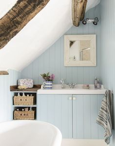 Country Blue Bathroom with Bespoke Vanity Unit                                                                                                                                                                                 More