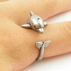 Cute adjustable dolphin ring * 10 aviliable * Cute adjustable Size dolphin wrap ring Jewelry Rings