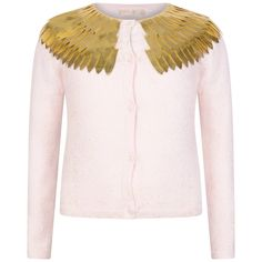 e85ebfcb3b5 Billieblush Girls Pink Cardigan With Gold Feathered Collar Stylish Little  Girls