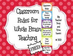 FREE!! Classroom Rules for Whole Brain Teaching - Cute Polka Dots