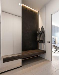 Couloire - un vêtement gris est suspendu. Il y a de la place pour s'asseoir. Entrance Hall Furniture, Entrance Hall Decor, Decoration Hall, Entryway Decor, Design Hall, Niche Design, Flur Design, Home Room Design, Interior Design Living Room