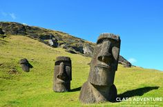 to the tiny Polynesian island of Easter Island in the middle of the Pacific Ocean with its Moai Statues & mysterious Birdman Cult for nothing short of an inspiring vacation experience. Photo via Rustic Saunas, Chile Tours, Statues, Chili, Polynesian Islands, Easter Island, South America Travel, Aerial View, Luxury Travel