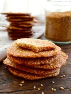 Sweet Sesame Crisps Try baking a batch of these delicious and unusual little crisps — an authentic alternative to takeout's run-of-the-mill fortune cookies. Macarons, Tea Cakes, Biscotti, Wok Of Life, Shortbread, Sesame, Bbq Pork, Pork Belly, Chinese Food