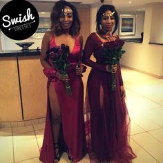 Jessie & Reba in their custom Swish Matric dance gowns. Mesh Skirt, Satin Gown, Burgundy Dress, Bridesmaid Dresses, Wedding Dresses, Pink Satin, Jessie, Bespoke, Bodice