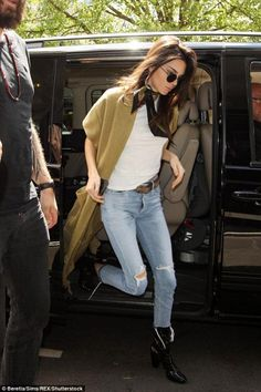 Kendall Jenner wearing Oliver Peoples The Row After Midnight Sunglasses, Erika Cavallini Spring 2016 Duster Coat, Kenneth Cole Krystal Leather Patent Boots in Black, Citizens of Humanity Liya Jeans in Torn, Rockins Snakes Super Skinny Scarf and Re/Done 1960s Slim Tee