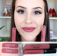 Stila Stay All Day Liquid Lipstick in Patina is a dupe for the Sephora Cream Lip Stain in Marvelous Mauve 13. Lip swatches and arm swatches.