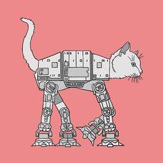 Cat Imperial Walker 5x5 print by linedraw on Etsy, $15.00