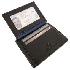 Keep your cards and bills safe with this black continental leather bifold wallet. Featuring plenty of slots for cards, a money clip, and an ID window, this wallet has everything you need. The smooth l