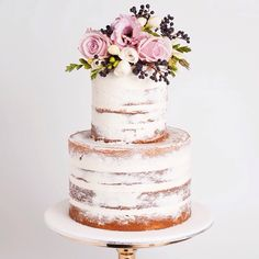 Naked two tier wedding cake