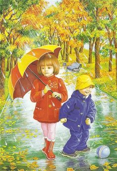 illustrations divers enfants 3 - Page 26 Umbrella Painting, Umbrella Art, Under My Umbrella, Four Seasons Art, Rain Art, Creation Photo, Autumn Scenes, Love Rain, I Love Winter