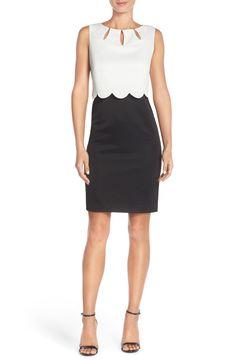 Ellen Tracy Piqué Scalloped Overlay Dress with Cutouts (Regular