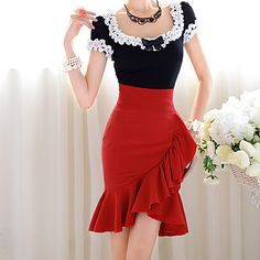 Pink Doll Ruffle Asym Hem Skirts - USD $ 39.89