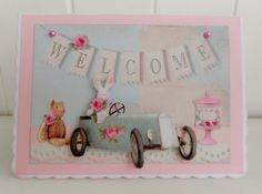 Shabby chic New Baby Welcome card by picocrafts on Etsy, $3.80
