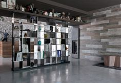 """is a """"puzzle of unequal elements"""" Design by Mario Bellini Mario Bellini, Sudoku, Bookcase Wall, Bookcases, Wall Shelves, New Interior Design, Italian Furniture, Design Your Home, Decorating On A Budget"""