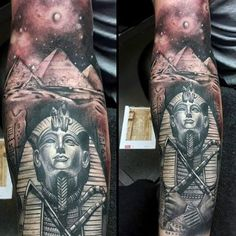 Mens Full Sleeve Tattoo Of King Tut With Ancient Egyptian Pyramids