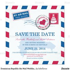 Dominican Republic Air Mail Wedding Save The Date 5.25x5.25 Square Paper Invitation Card