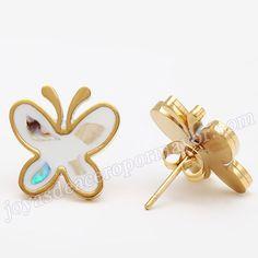 Material:Acero Inoxidable     Nombre:Linda aretes de mariposa para vender al por mayor   Model No.:SSEG022   Talla:16*16mm   Peso:3.71g/pair