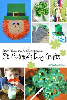 Best Shamrock Crafts and Leprechaun Crafts for St. Patrick's Day! {OneCreativeMommy.com} Kids Crafts: