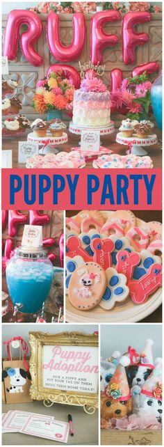 Love this cute puppy party! You have to see the puppy adoption station in slide 3! See more party ideas at CatchMyParty.com!