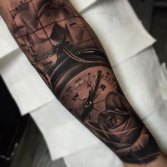 3D Compass And Map Tattoos On Forearm photo - 2