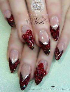 Nail art design | Luminous Nails and Beauty| #frenchmani #rednailglitternails