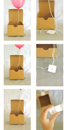 Balloon in a box party invitation