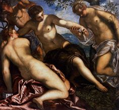 "Tintoretto. Mercury and the Graces, 1577. Oil on canvas. Palazzo Ducale, Venice. Peter Ackroyd: ""The paintings of Titian and Tintoretto have been said to manifest a 'sea' of light, in which shape is fluid and ambiguous."" In Venice: Pure City."