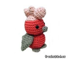 Amigurumi Doug the Galah - $4.00 by Stacey Trock of Fresh Stitches / Exotic Birds - Animal Crochet Pattern Round Up - Rebeckah's Treasures