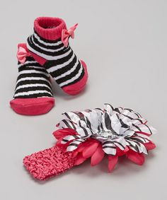 Take a look at this Fuchsia & Black Bow Stripe Socks & Headband by Tender Toes on #zulily today!