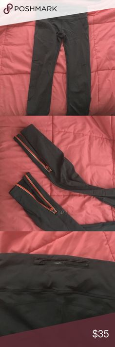Gap leggings!! Dark grey! Leggings with orange zippers at the bottom. Full length leggings! Another zipper in the back at the top. You can see in the pictures. I don't think they've ever been worn, no tags though GAP Pants Leggings