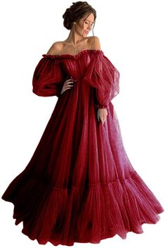 Dressylady Charming Off The Shoulder Puffy Sleeve Tulle Long Prom Dress A Line Pleated Evening Gowns Puffy Dresses, Cute Prom Dresses, Prom Dresses With Sleeves, Ball Dresses, Elegant Dresses, Pretty Dresses, Vintage Dresses, Beautiful Dresses, Ball Gowns